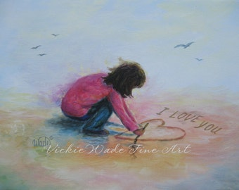 I Love You Beach Girl Art Print brunette beach girl writing I Love You heart in sand valentine wall art pink, Vickie Wade art