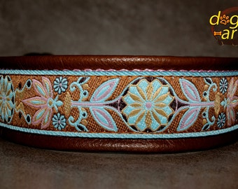 "Dog Collar ""Pinwheel Zinnia"" by dogs-art, custom dog collar, leather dog collar, dog collars, collar, dog, martingale collar, floral collar"