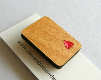 Alder wood spade playing card brooch