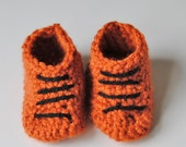 Booties basketball baby Sports shoes newborn Athletic slippers infant orange black Team spirit colors Take home Photo prop Birthday shower