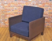 Midcentury Modern Club Chair-- Navy with Walnut Frame