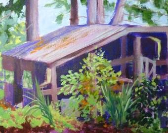 Barn #2 - Original Acrylic Barn Plein Air 10x13 Landscape Painting