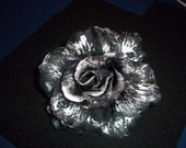 Black with Silver Rose Flower Hair Clip