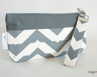 Gray Chevron Pleated Clutch with Wristlet