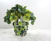 Mosaic Pot of Clover, child- & pet-safe, green silk clover in mosaic pot, JillsJoy mosaic .. tagt