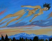 Savasana, Yoga Art Original Acrylic Painting on Canvas, Nude Figure Transforming into a Sunset, Surreal Landscape, Woman in the Clouds