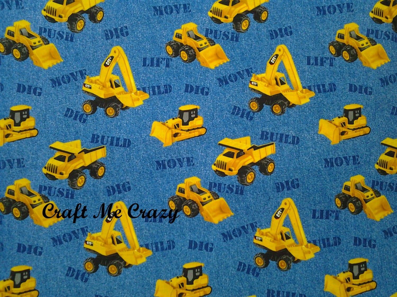 Cat blue nursery construction trucks cotton fabric by the for Nursery cotton fabric