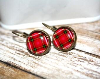 Red/Green Plaid Earrings Stud Earrings, Bronze Ear Posts, Bronze Leverback, Holiday Jewelry,