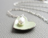 Tea Green Enamel Heart Necklace Pearl Sterling Silver