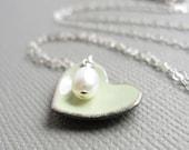 Tea Green Enamel Heart Necklace Pearl Sterling Silver