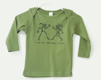 Robots, Robot T Shirt, funny t shirt, Dancing Robots, Long-sleeve shirt, letter D, olive green, american apparel
