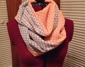 Polka dot and checkered infinity scarf