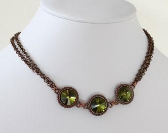 Swarovski Rivoli Necklace, Antique Brass Chain Necklace, Rivoli Crystals Necklace, Made to Order, Custom Order