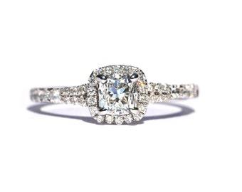 Cushion Cut - Slight Split Shank - Halo - Pave - Antique Style - Diamond Engagement Ring 14K white gold - Weddings - Bp027