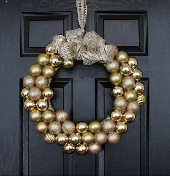 Gold Majestic Holiday Wreath, Christmas Wreath for Door, Gold Christmas Wreath, Large Christmas Wreath