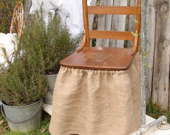 Shabby French Country Gathered NATURAL Burlap Chair Skirt