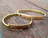 Men's Size / Larger Custom Made Bangle Bracelet...Hand-Engraved by Hand on a Vintage Brass Hinged Bracelet..Personalized for Free
