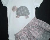 Turtle 2 Pc Outfit  Gray and Pink