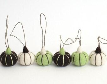Miniature felt pumpkins, needle felted pumpkin ornaments (peppermint, white, dark brown) - set of 6
