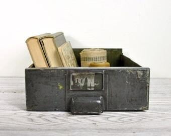 Vintage Metal Drawer / Industrial Storage