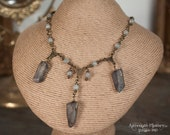 Reserved Listing for Trish - Mystic Quartz Necklace and Witch's Moon Bronze