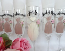 """Hand Painted Bridesmaid Champagne Glasses - """"PERSONALIZED to Your EXACT DRESSES"""" - Bridesmaid Wine Glasses - Hand Painted Wine Glasses"""