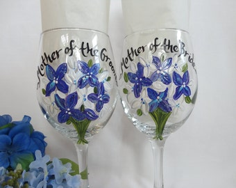 Hand Painted PERSONALIZED to YOUR  Bridesmaid Dress Wine Glasses - Gift boxing available