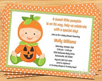 Fall Halloween Pumpkin Baby Shower Invitation - Printable