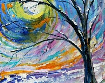 Fine art Print from oil painting First Snow by Karen Tarlton - winter landscape prints - impasto technique