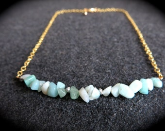 Aqua and gold simple summer sparkle necklace