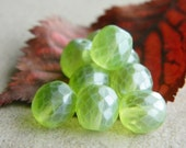 Round Glass Beads Czech Glass Beads Fire Polished Faceted Round  Peridot Green with Antique Matt  Finish 10mm (10pcs)