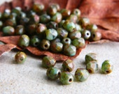 Picasso Czech glass beads, Fire polished faceted round beads, 4mm  Green and Turquoise & Brown Olive Picasso (50pcs)