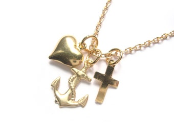 Faith Hope Charity Necklace In Gold With Vintage Charms - Small Charm Necklace