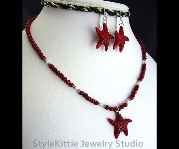 Red Coral, White Coral, Pendant Necklace, Dangle Earring, 925 Sterling Silver, Carved Starfish, 2 Piece Set, Thai Silver, Gemstone, Jewelry