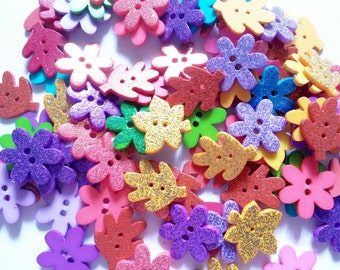 25 pcs Mix glitter flower and leave button 2 hole