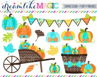 Dashing Blue Pumpkin Patch - Clipart for Personal or Commercial Use INSTANT DOWNLOAD