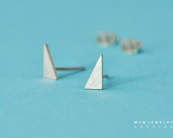 Tiny Sterling Silver Tall Triangle Stud Earrings