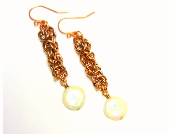 Ready To Ship  Byzantine Chainmaille Earrings in Copper with Mother Of Pearl Shell Accent