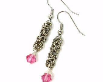 Byzantine Chainmaille Earrings in Silver Plated  Copper with  6mm Pink  Swarovski Crystal Accents Custom Made to order