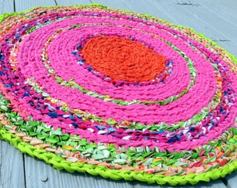 "rag rug, ""braided"" rag rug, handmade crochet rug, round rug in pink and lime, custom made, Lilly Pulitzer inspired, nursery rug or preppy"