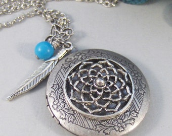 Dreamcatcher,Locket,Silver,Feather,Turquoise,Gemstone,Necklace,Antique Locket,Dream,Indian,Jewelry. Handmade jewelry by valleygirldesigns.