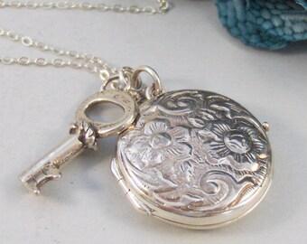Amelia,Locket,Silver Locket,Sterling Silver Locket,Sterling Silver,Key,Key Locket,Silver Key,Sterling. Handmade jewelry valleygirldesigns.