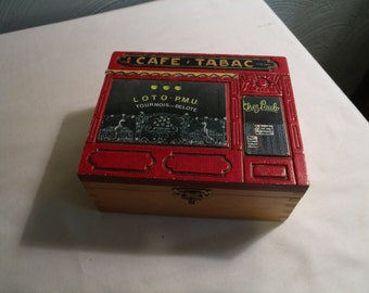 Vintage Wooden Jewelry Box, Trinket Box, French CAFE, Made in France by Cuzin