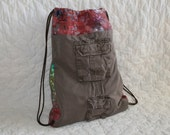Backpack Recycled Chocolate cargo bag with Batik trim - Ready to Ship