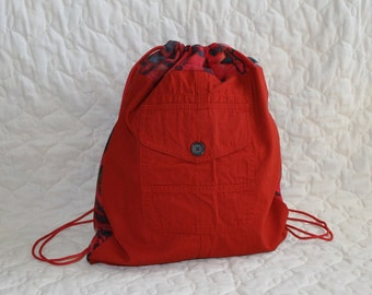 Backpack Recycled RED cargo bag with Batik trim - Ready to Ship