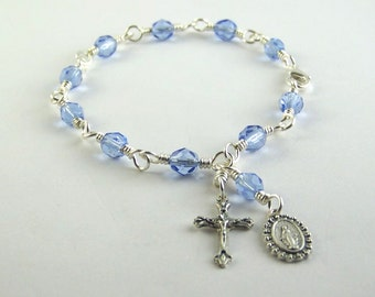 Light Blue Miraculous Medal Rosary Bracelet with Czech Glass Beads