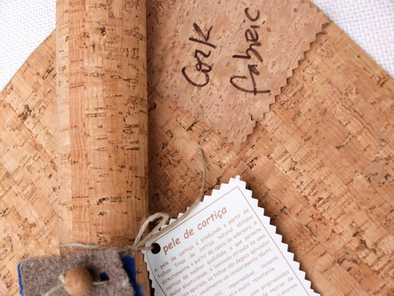 """Buy cork fabric for sewing, green product, Portuguese vegan leather, craft supplies in your cork store, 50x50cm,  20""""x20"""", striped pattern"""