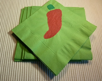 Chili Pepper Paper Cocktail/Lunch/ Dinner  Napkins - Red and Bright Green