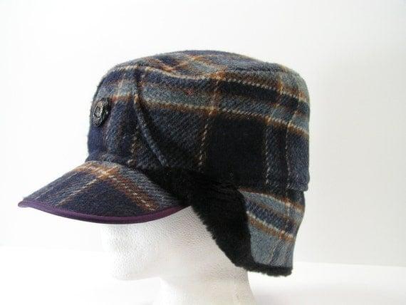 ear flap winter hat mens large 7 3/8 blue plaid wool cap ice