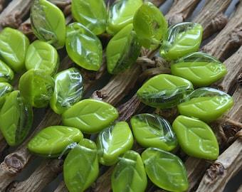 Czech Glass Leaf Beads - Jewelry Making Supply - Green Glass Leaf Beads - Two Tone - 8x12 (25 beads)